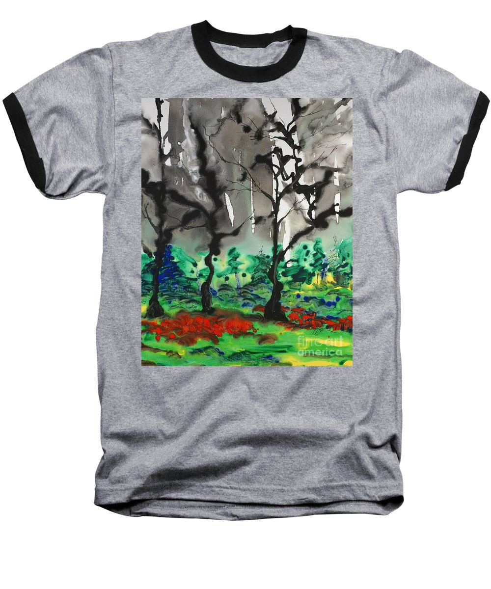 Forest Baseball T-Shirt featuring the painting Primary Forest by Nadine Rippelmeyer