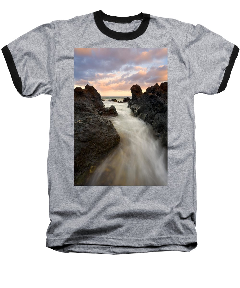 Sunrise Baseball T-Shirt featuring the photograph Primordial Tides by Mike Dawson