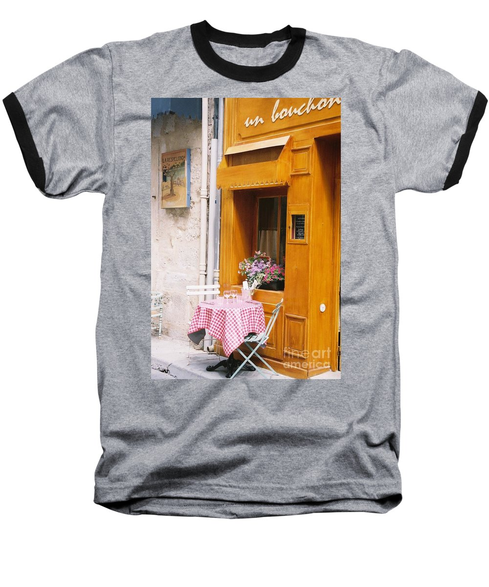 Cafe Baseball T-Shirt featuring the photograph Provence Cafe by Nadine Rippelmeyer