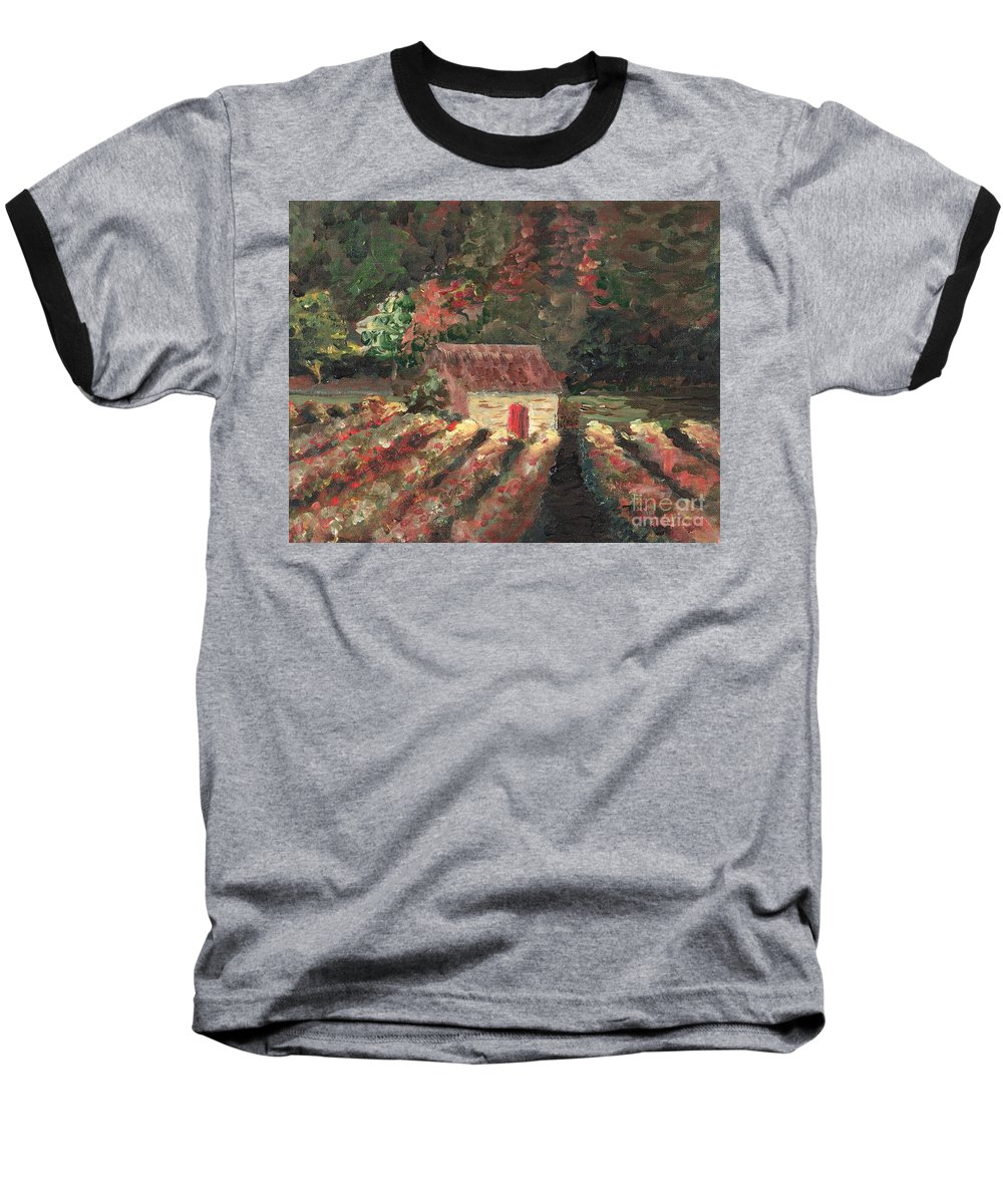 Landscape Baseball T-Shirt featuring the painting Provence Vineyard by Nadine Rippelmeyer