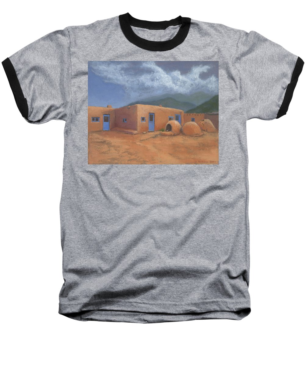 Taos Baseball T-Shirt featuring the painting Puertas Azul by Jerry McElroy