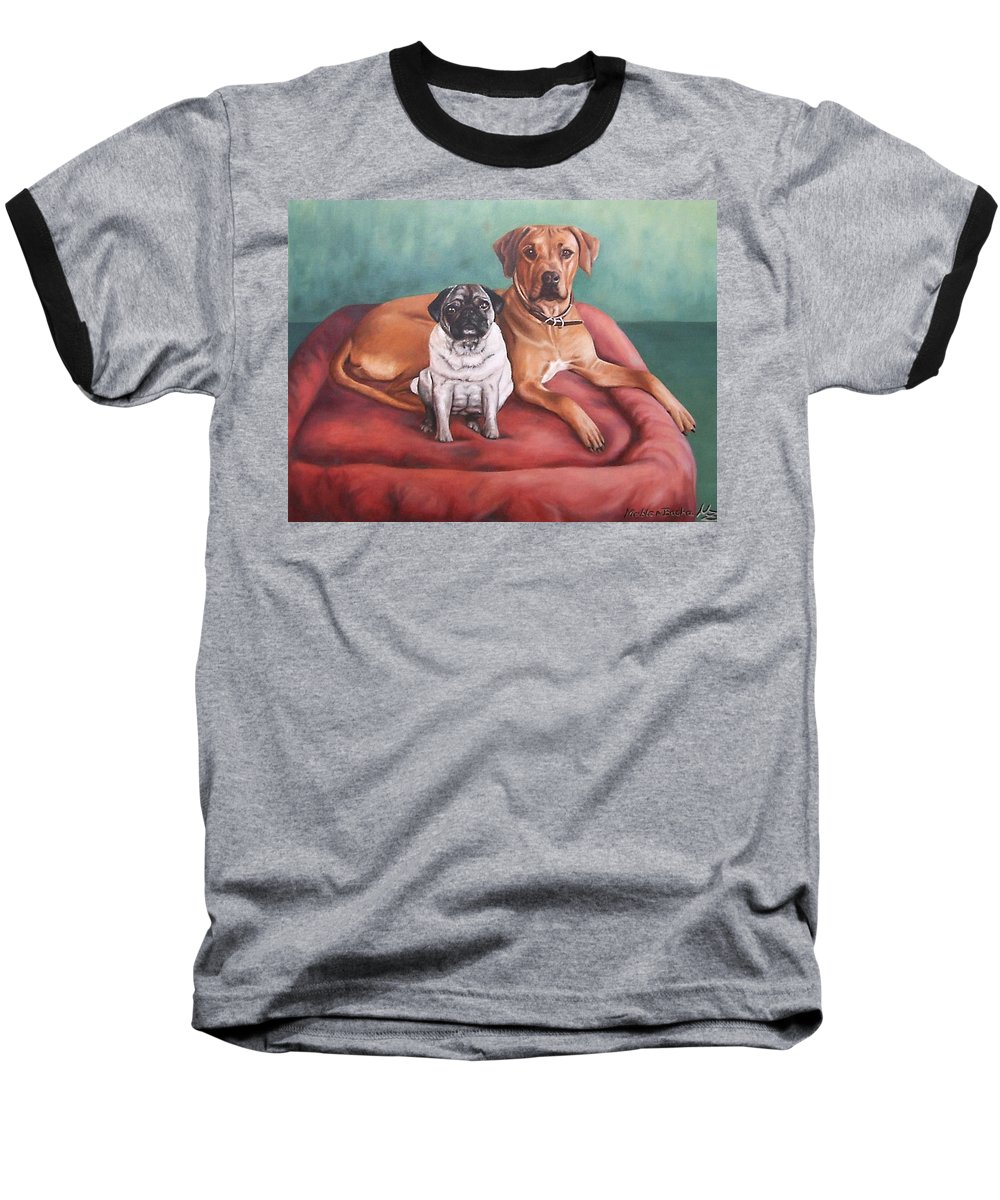 Dogs Baseball T-Shirt featuring the painting Pug And Rhodesian Ridgeback by Nicole Zeug