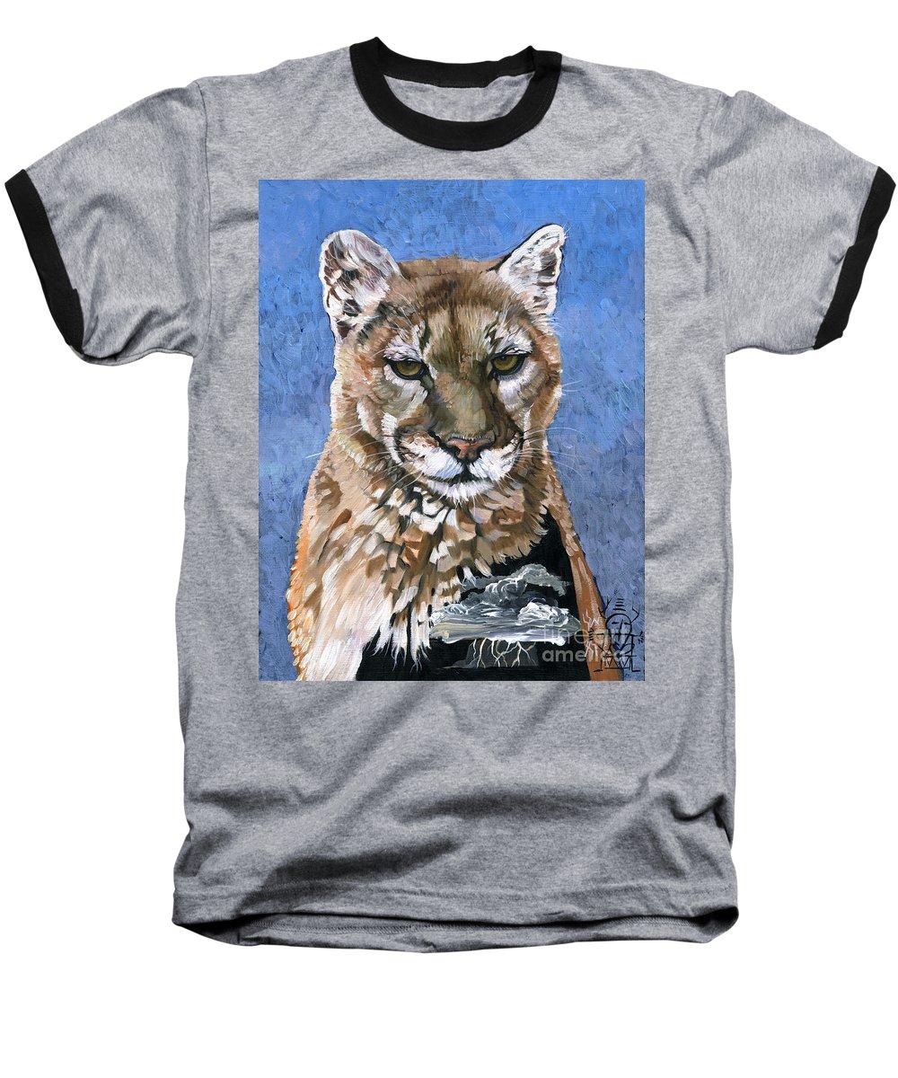 Puma Baseball T-Shirt featuring the painting Puma - The Hunter by J W Baker