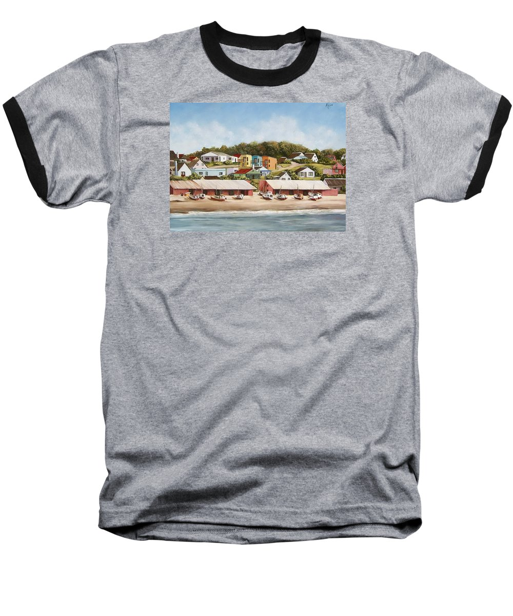 Landscape Seascape Uruguay Sea Seaside Boats Baseball T-Shirt featuring the painting Punta Del Diablo 2 by Natalia Tejera
