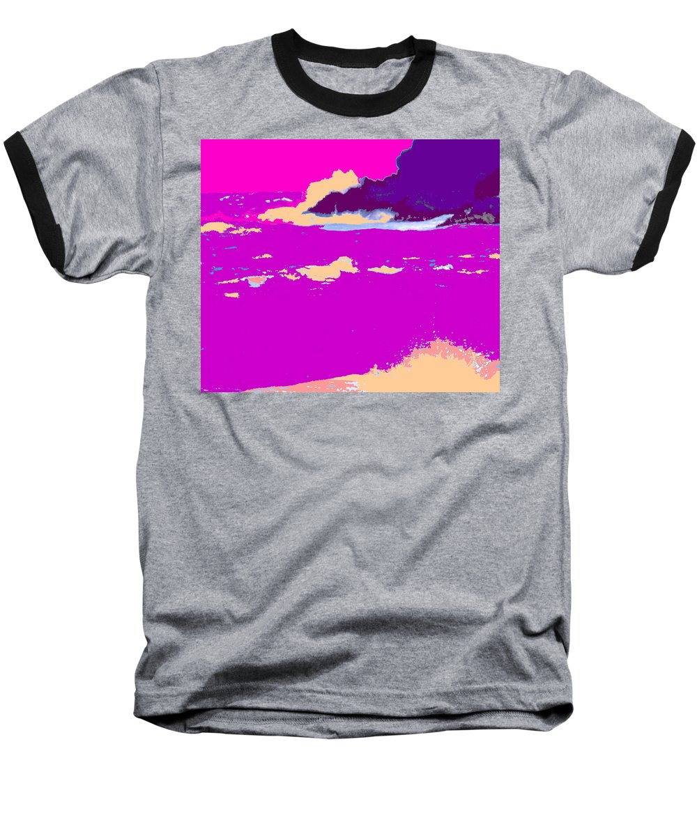 Waves Baseball T-Shirt featuring the photograph Purple Crashing Waves by Ian MacDonald