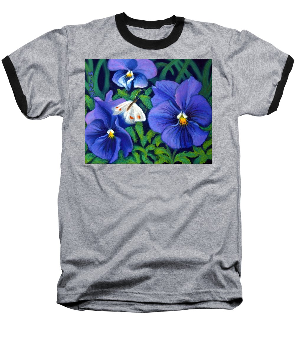 Pansy Baseball T-Shirt featuring the painting Purple Pansies And White Moth by Minaz Jantz