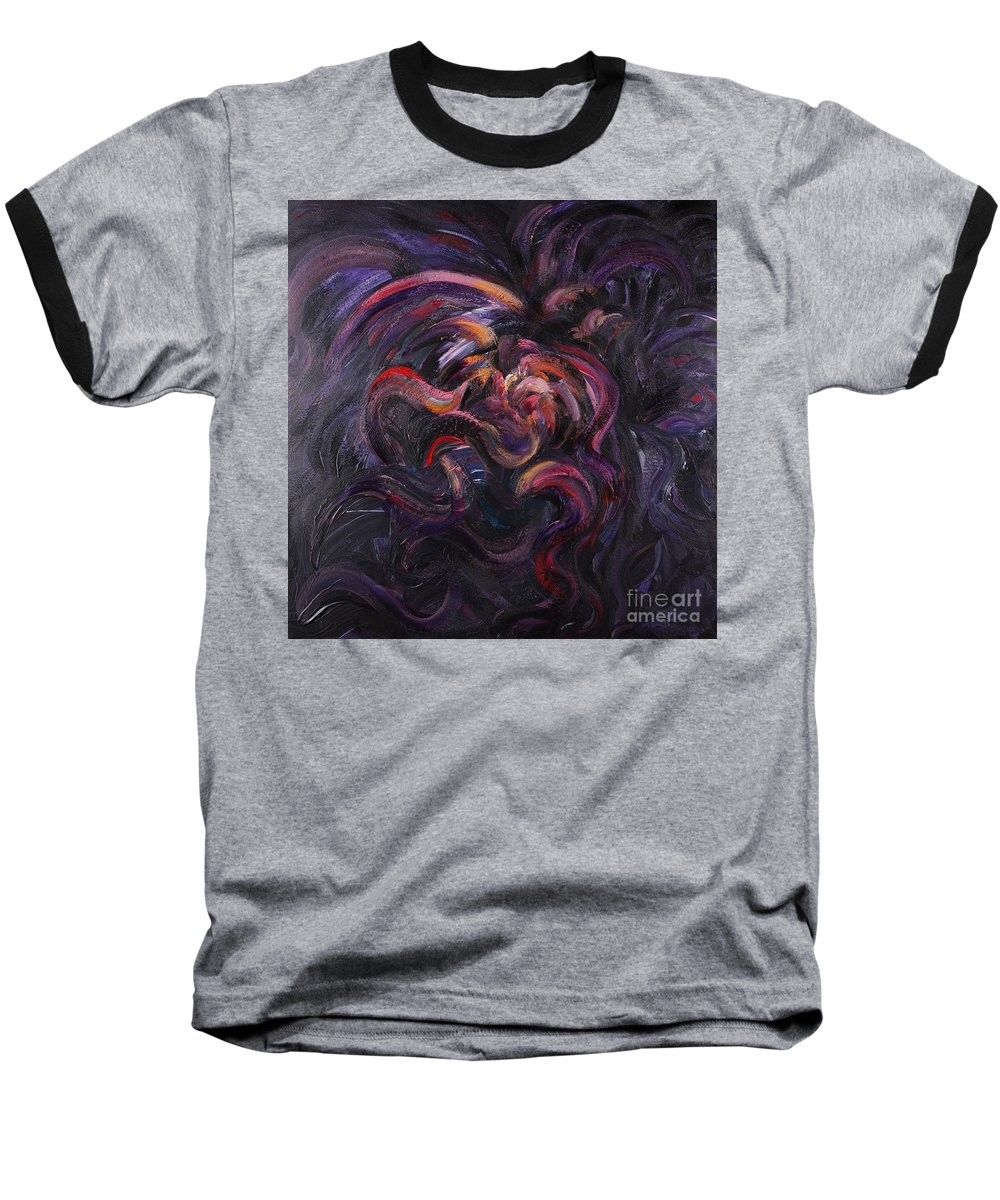 Purple Baseball T-Shirt featuring the painting Purple Passion by Nadine Rippelmeyer