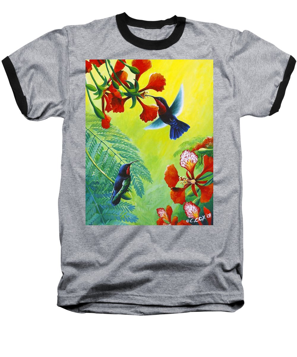 Chris Cox Baseball T-Shirt featuring the painting Purple-throated Caribs And Flamboyant by Christopher Cox