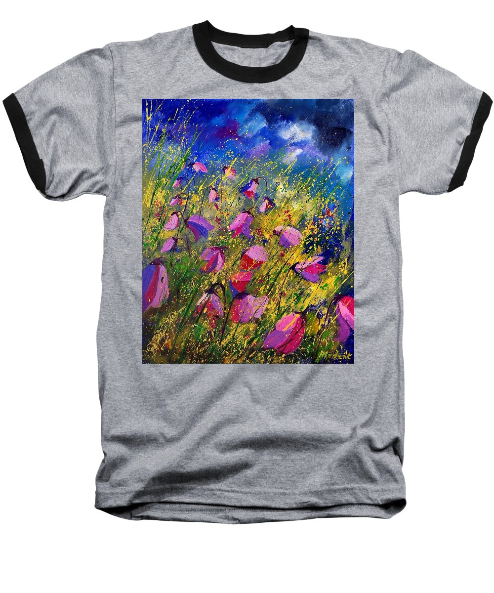 Poppies Baseball T-Shirt featuring the painting Purple Wild Flowers by Pol Ledent