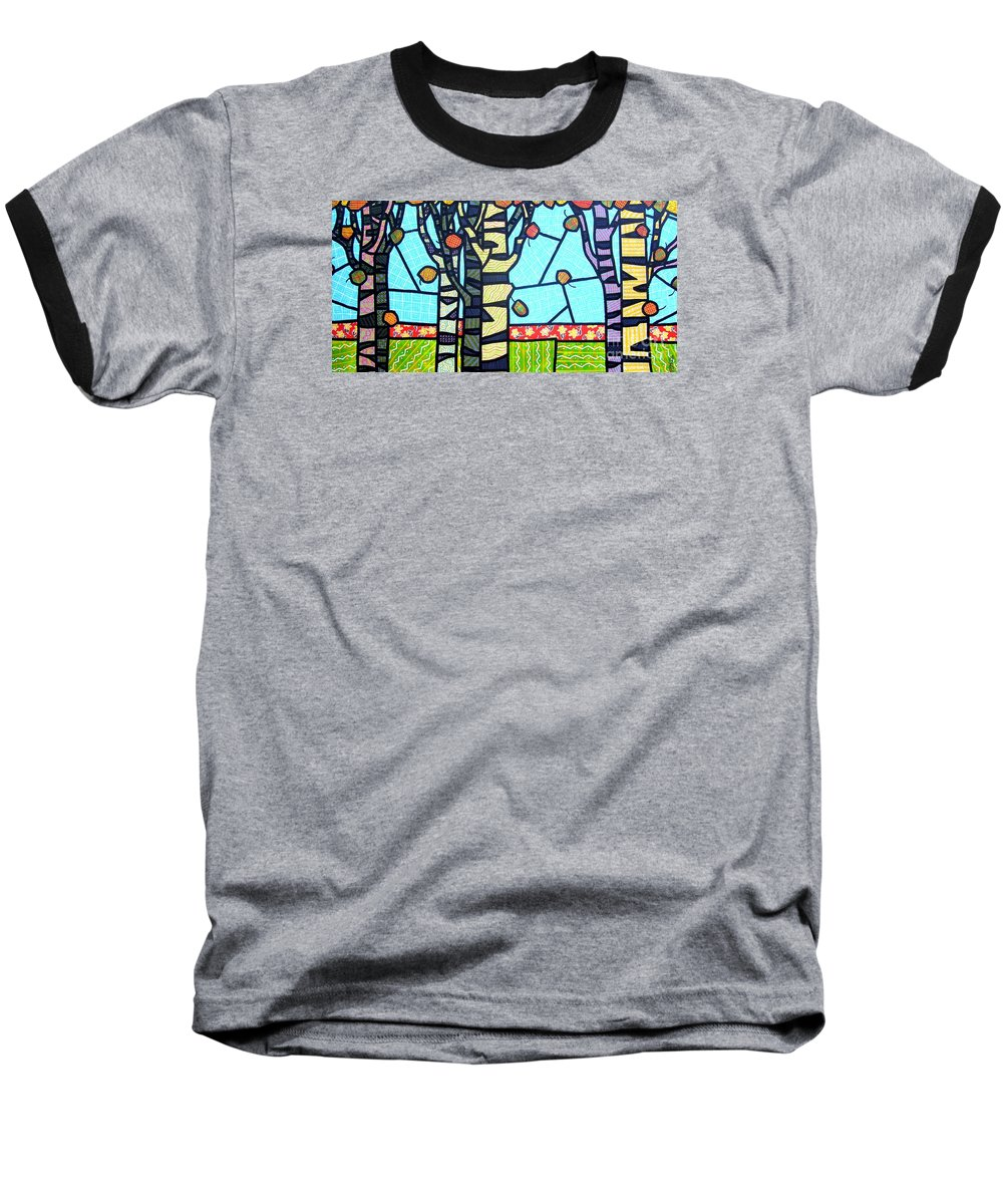 Birch Trees Baseball T-Shirt featuring the painting Quilted Birch Garden by Jim Harris
