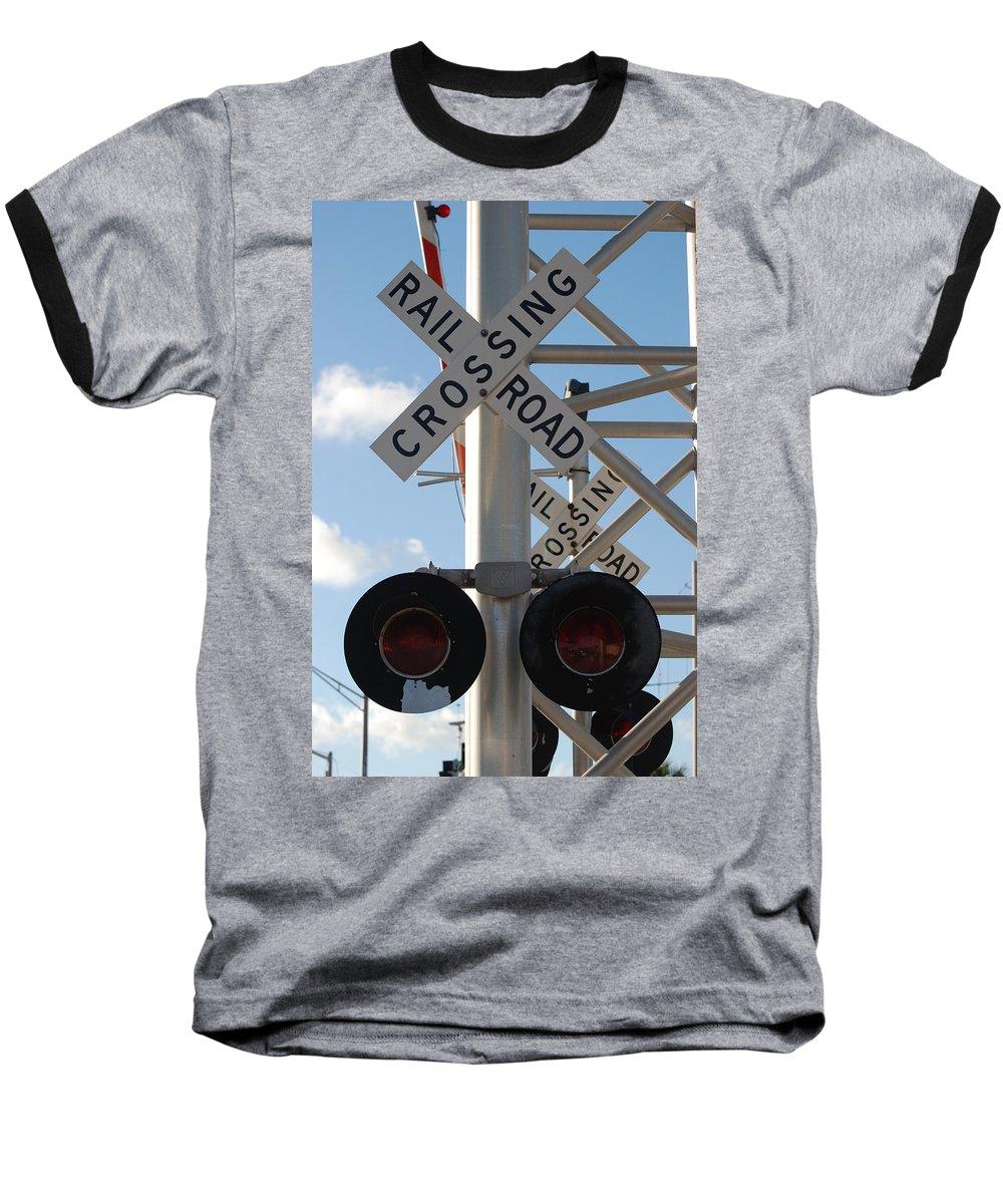 Train Baseball T-Shirt featuring the photograph R X R Crossing by Rob Hans