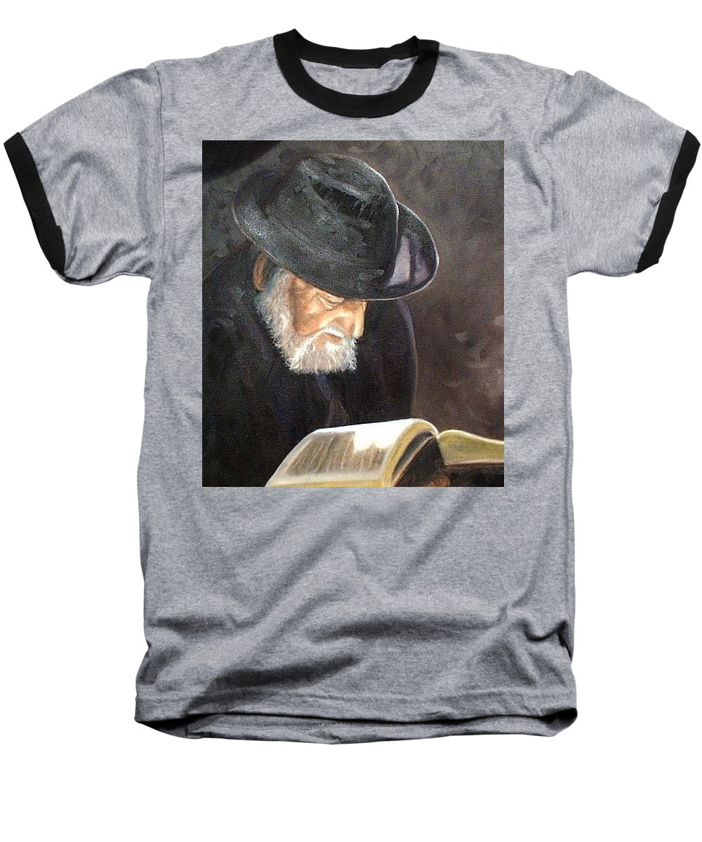 Portrait Baseball T-Shirt featuring the painting Rabbi by Toni Berry