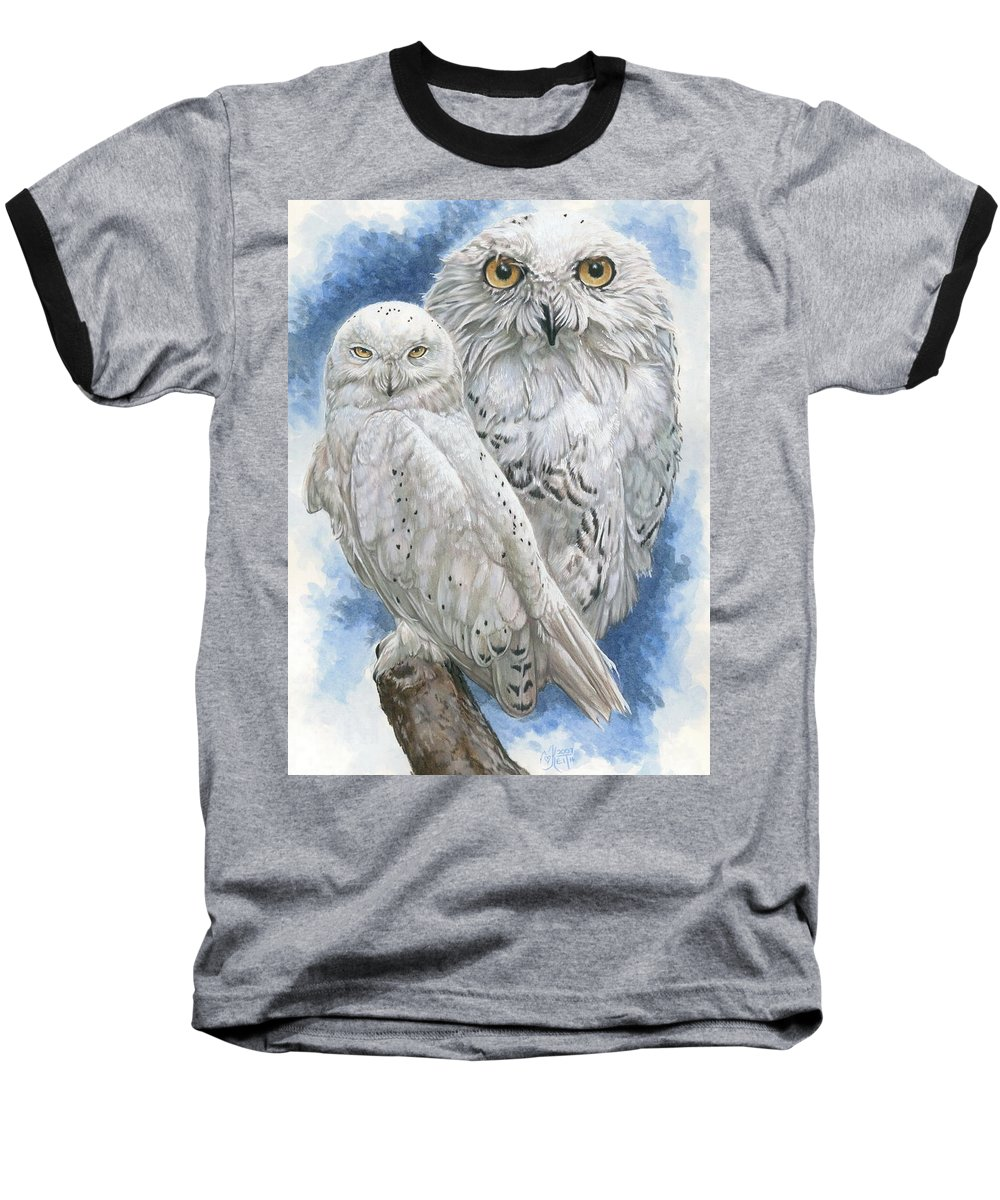 Snowy Owl Baseball T-Shirt featuring the mixed media Radiant by Barbara Keith