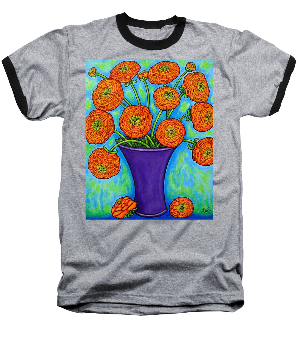 Green Baseball T-Shirt featuring the painting Radiant Ranunculus by Lisa Lorenz