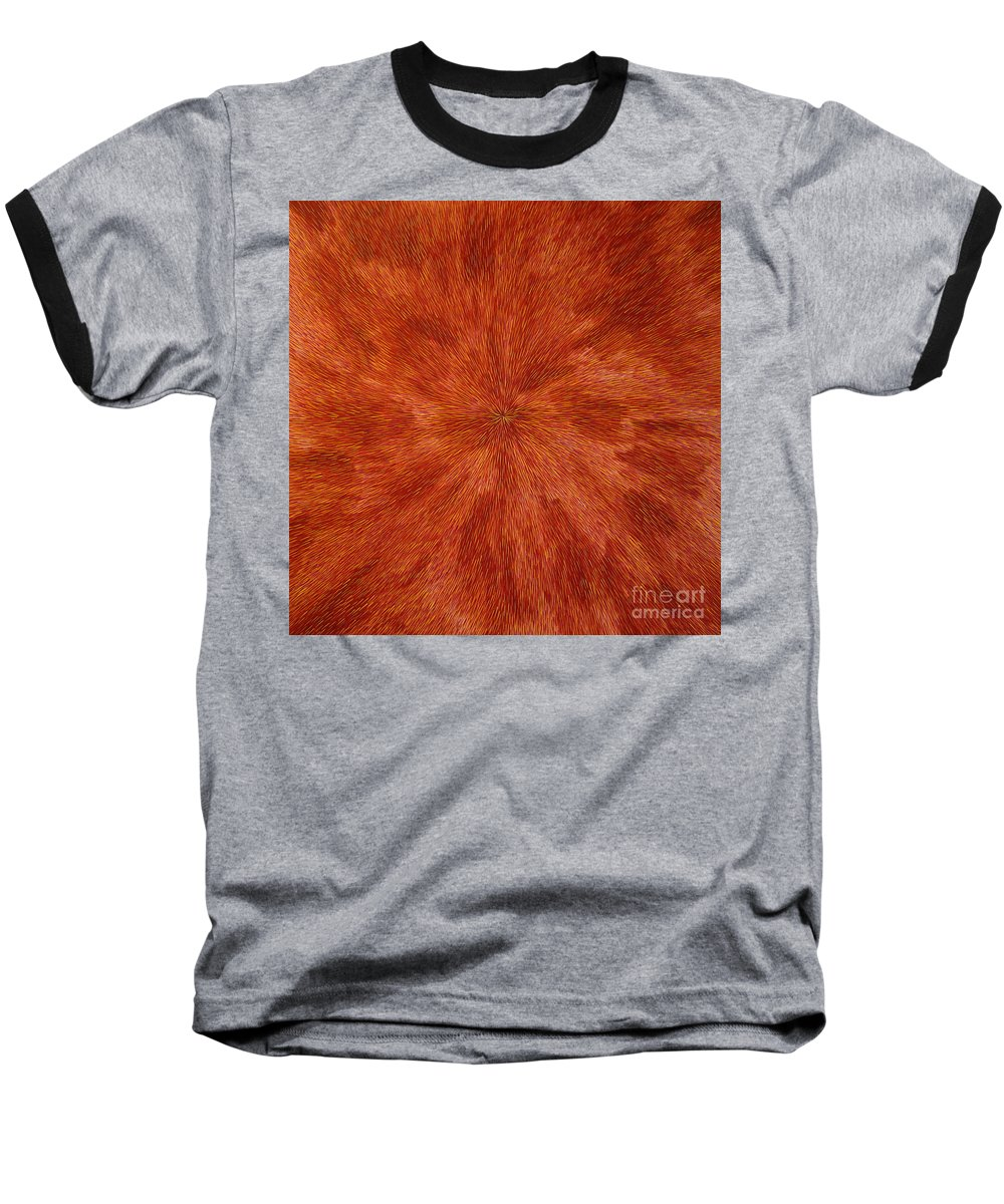 Abstract Baseball T-Shirt featuring the painting Radiation With Brown Yellow And Voilet by Dean Triolo