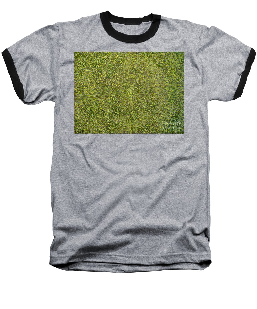 Abstract Baseball T-Shirt featuring the painting Radiation With Green With Yellow by Dean Triolo