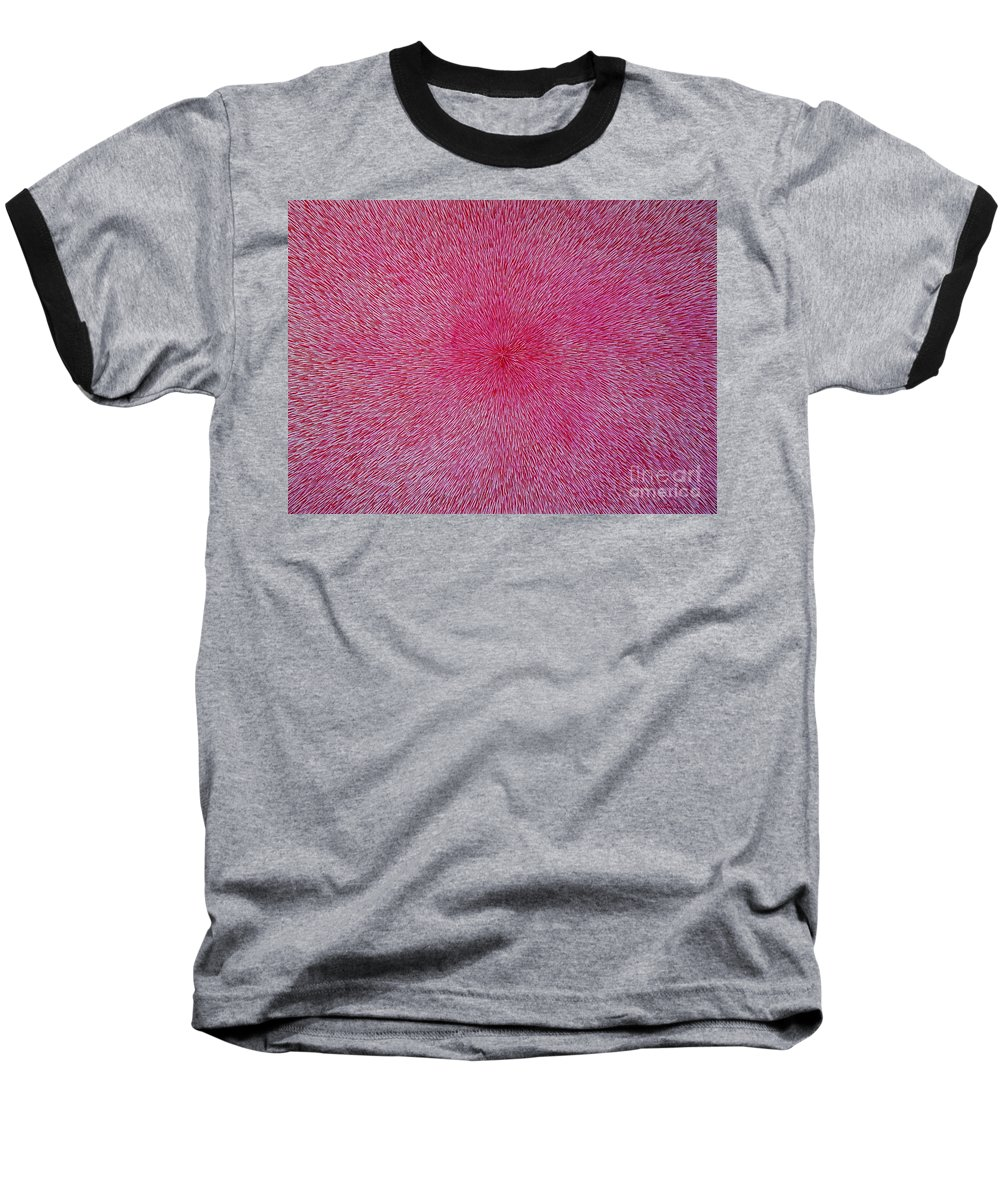 Abstract Baseball T-Shirt featuring the painting Radiation With Pink And Magenta by Dean Triolo