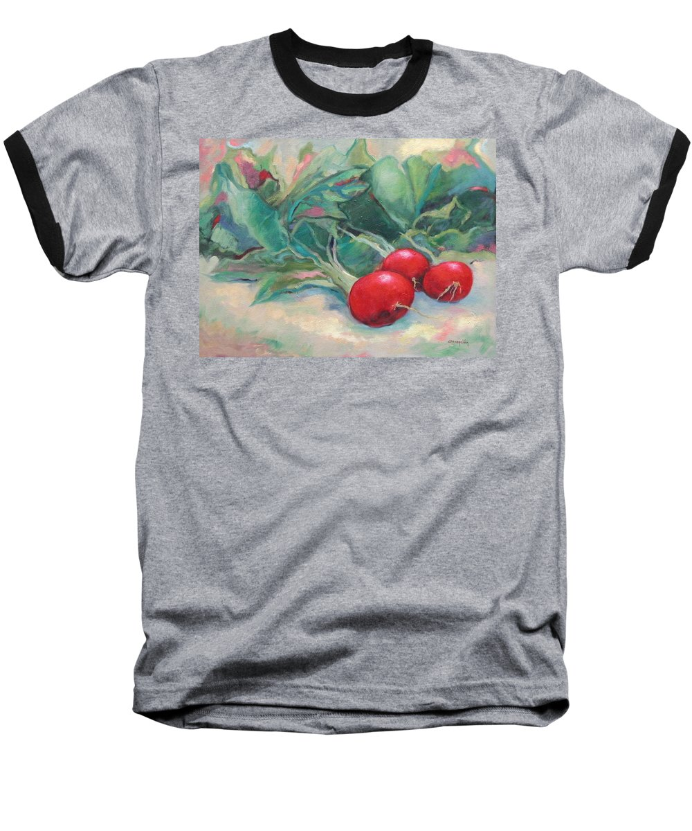 Radishes Baseball T-Shirt featuring the painting Radishes by Ginger Concepcion