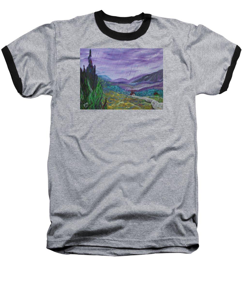 Rain Baseball T-Shirt featuring the painting Rain by David McGhee
