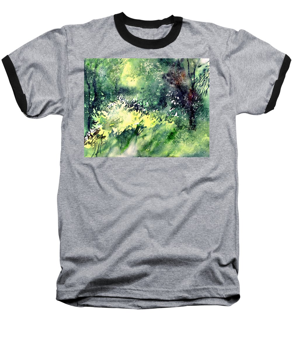 Landscape Watercolor Nature Greenery Rain Baseball T-Shirt featuring the painting Rain Gloss by Anil Nene