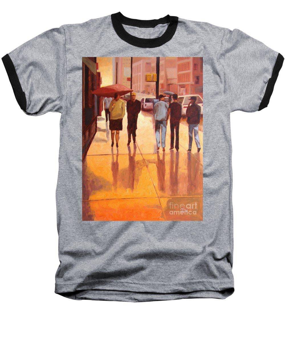 Manhattan Baseball T-Shirt featuring the painting Rain In Manhattan Number Eighteen by Tate Hamilton