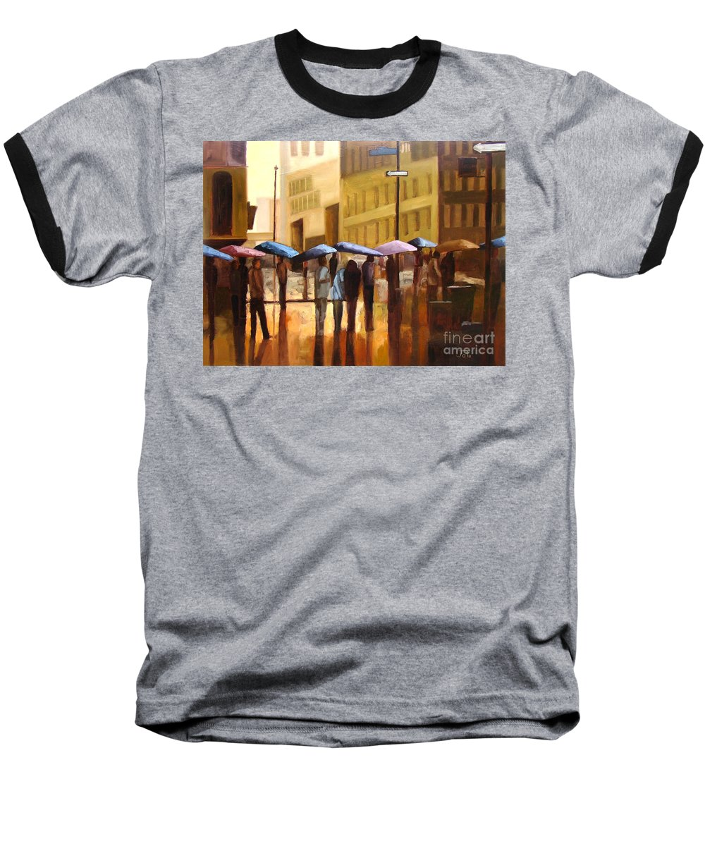 Cityscape Baseball T-Shirt featuring the painting Rain In Manhattan Number Seventeen by Tate Hamilton