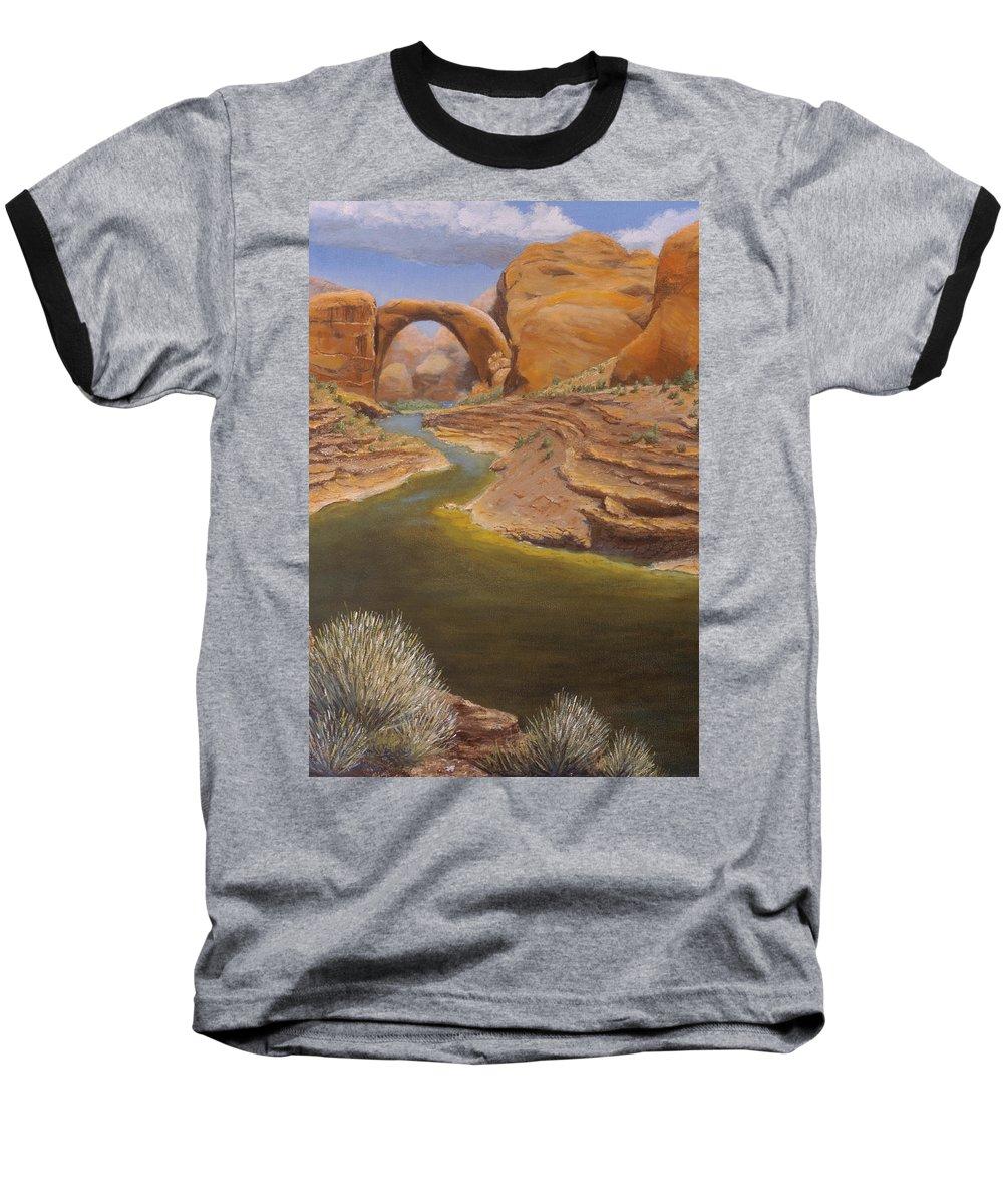 Rainbow Bridge Baseball T-Shirt featuring the painting Rainbow Bridge by Jerry McElroy