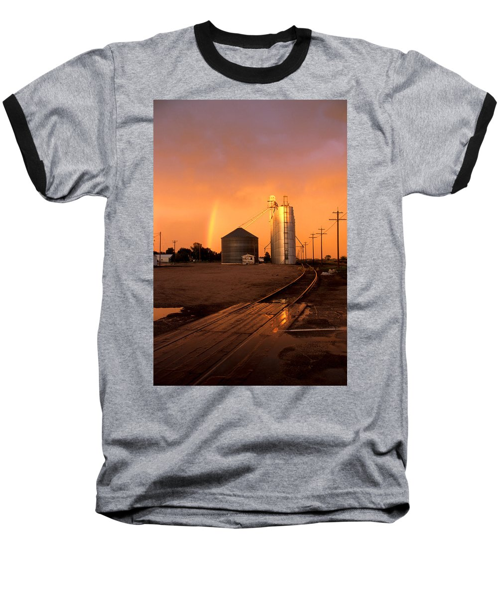 Potter Baseball T-Shirt featuring the photograph Rainbow In Potter by Jerry McElroy