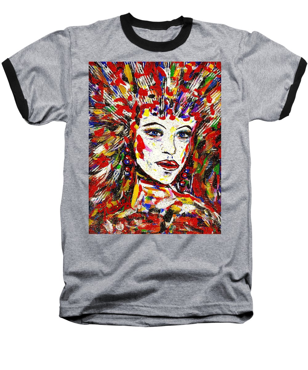 Abstract Art Baseball T-Shirt featuring the painting Rainbow by Natalie Holland