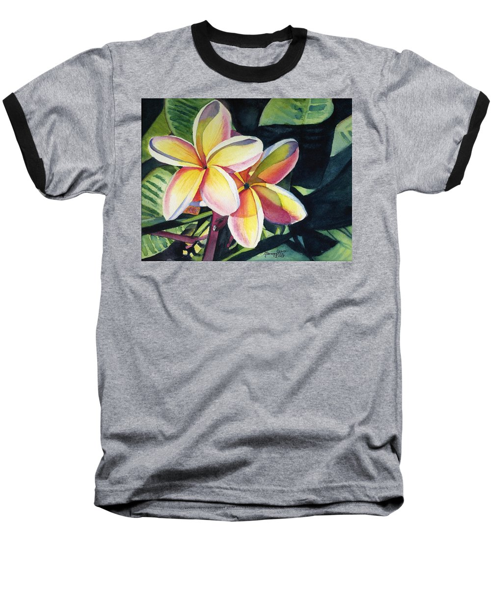 Rainbow Baseball T-Shirt featuring the painting Rainbow Plumeria by Marionette Taboniar