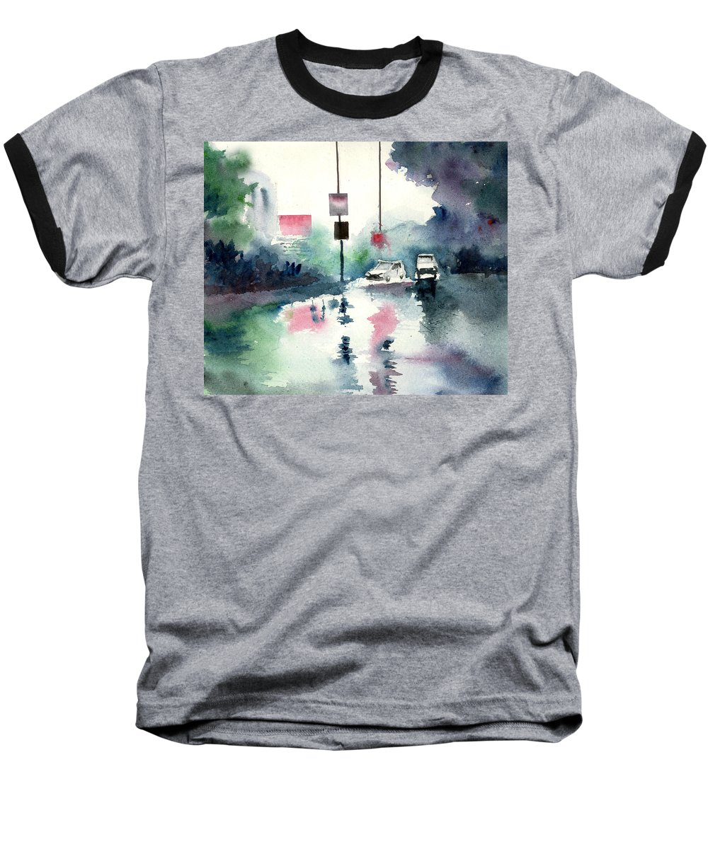 Nature Baseball T-Shirt featuring the painting Rainy Day by Anil Nene