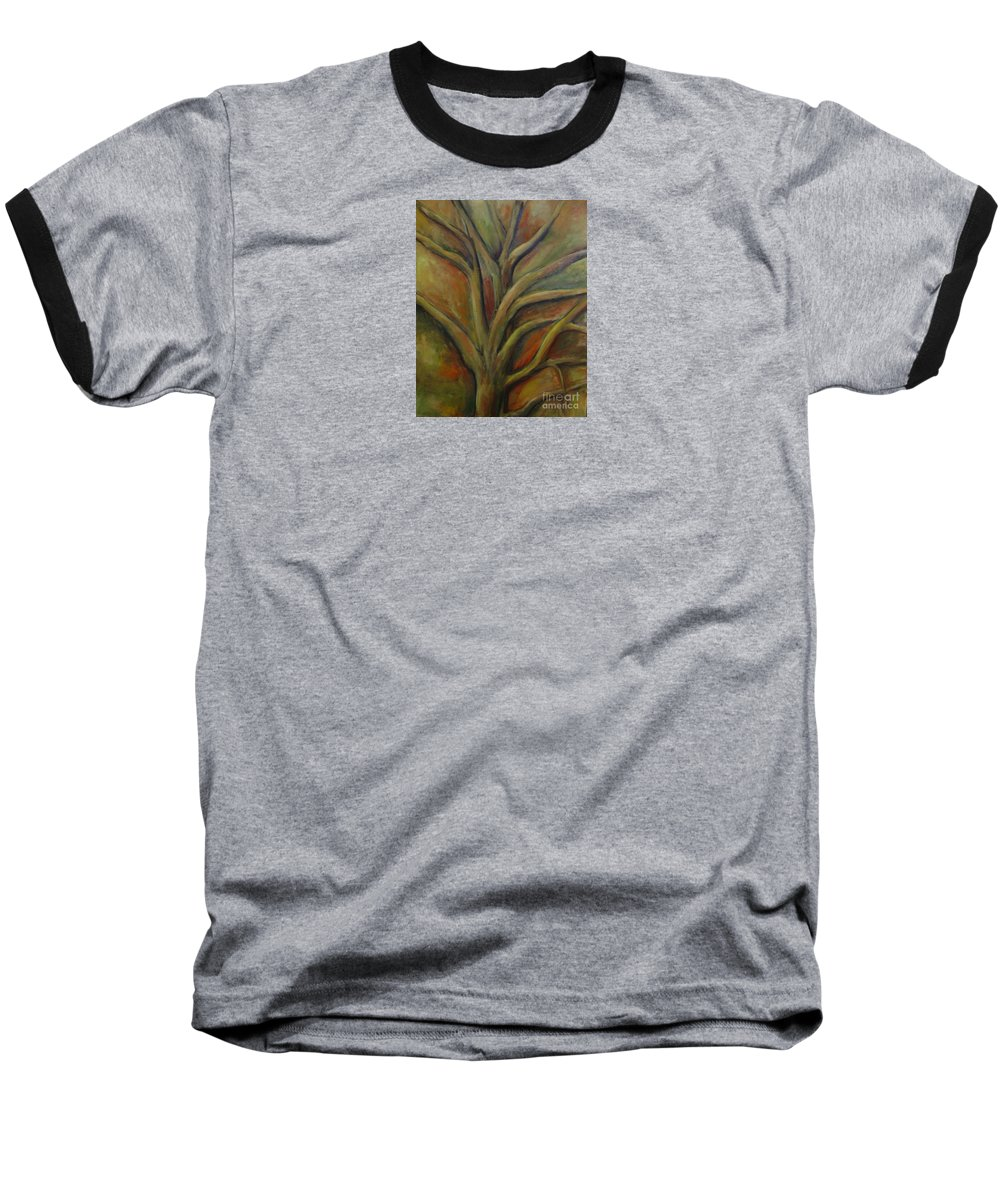 Tree Abstract Painting Expressionist Original Leila Atkinson Baseball T-Shirt featuring the painting Rapt by Leila Atkinson
