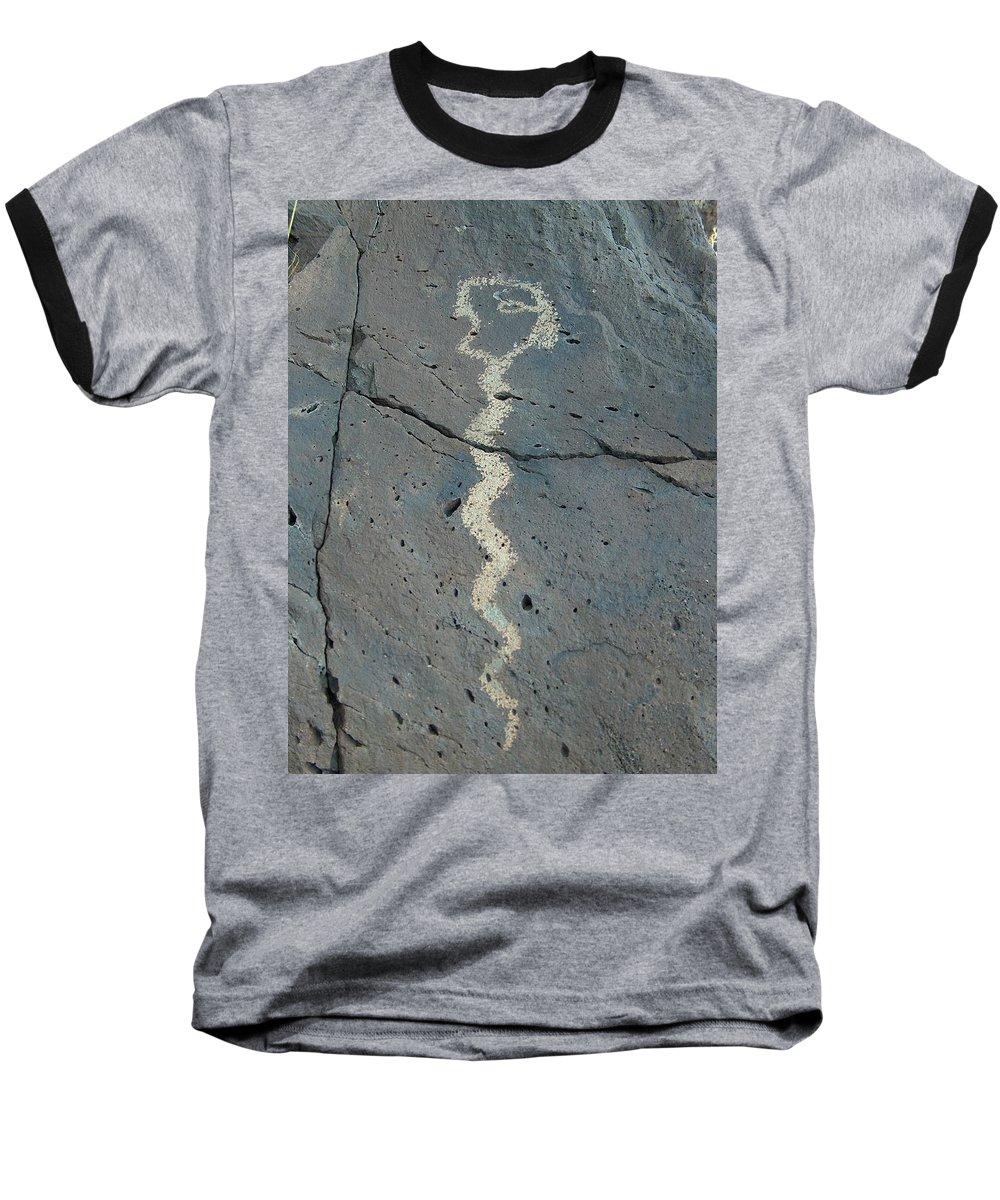 Rattlesnake Baseball T-Shirt featuring the photograph Rattlesnake Petroglyph 2 by Tim McCarthy