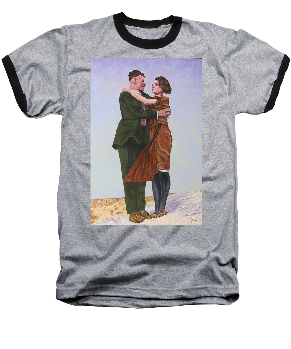 Double Portrait Baseball T-Shirt featuring the painting Ray And Isabel by Stan Hamilton