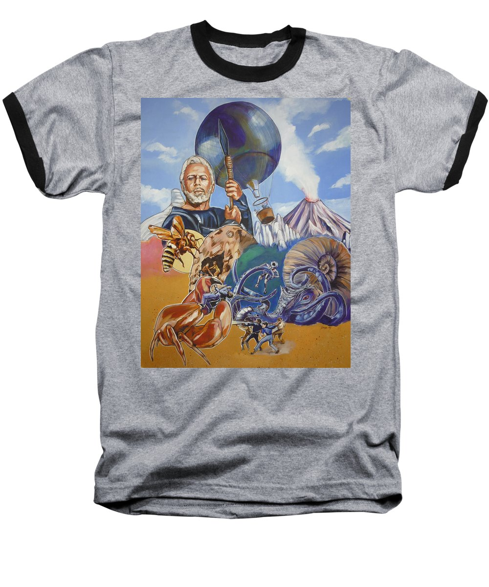 Mysterious Island Baseball T-Shirt featuring the painting Ray Harryhausen Tribute The Mysterious Island by Bryan Bustard