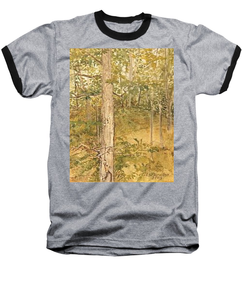 Trees Baseball T-Shirt featuring the painting Raystown Lake by Leah Tomaino