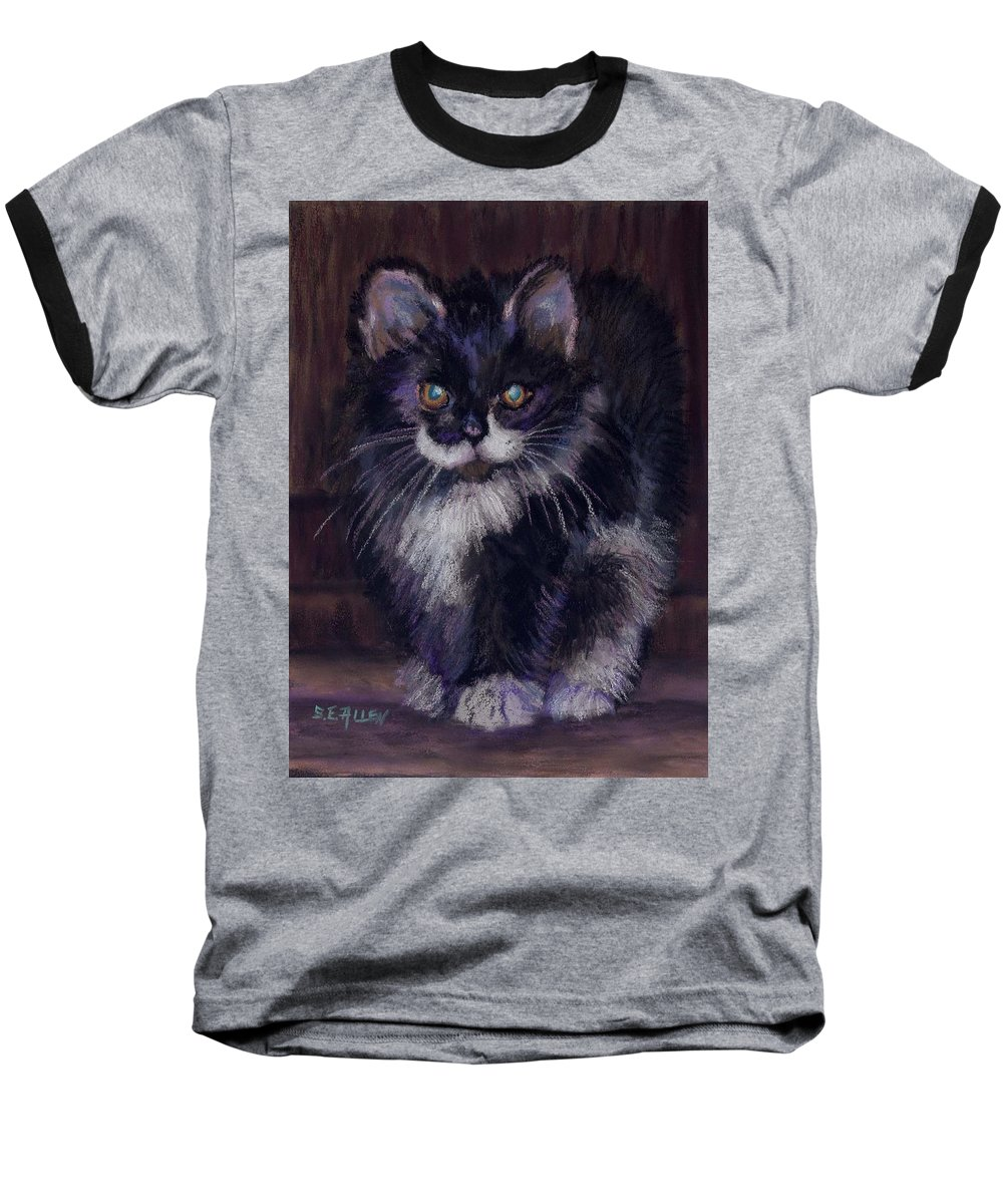 Kitten Baseball T-Shirt featuring the painting Ready For Trouble by Sharon E Allen