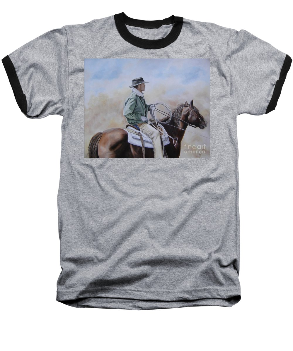 Ranch Baseball T-Shirt featuring the painting Ready To Rope by Mary Rogers