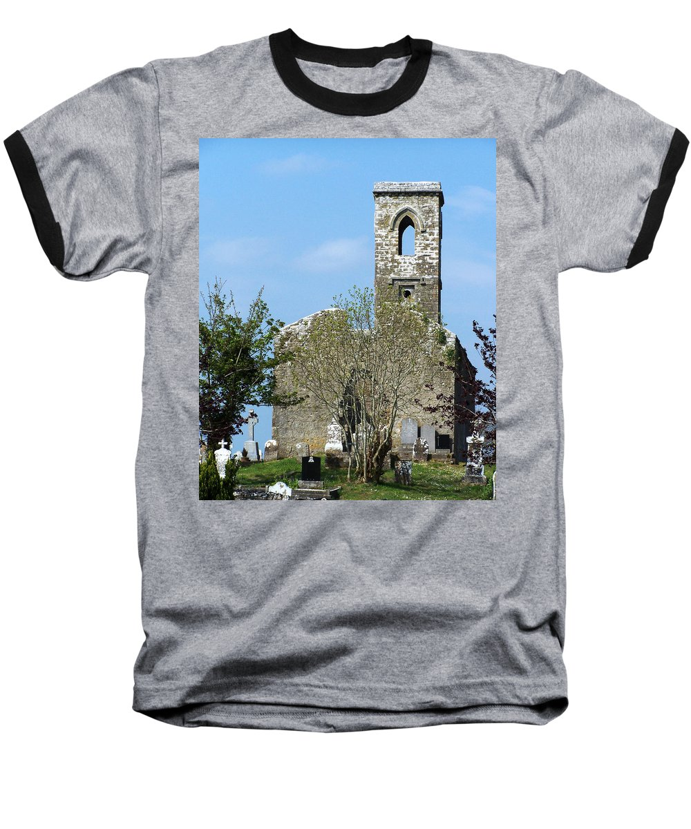 Fuerty Baseball T-Shirt featuring the photograph Rear View Fuerty Church And Cemetery Roscommon Ireland by Teresa Mucha