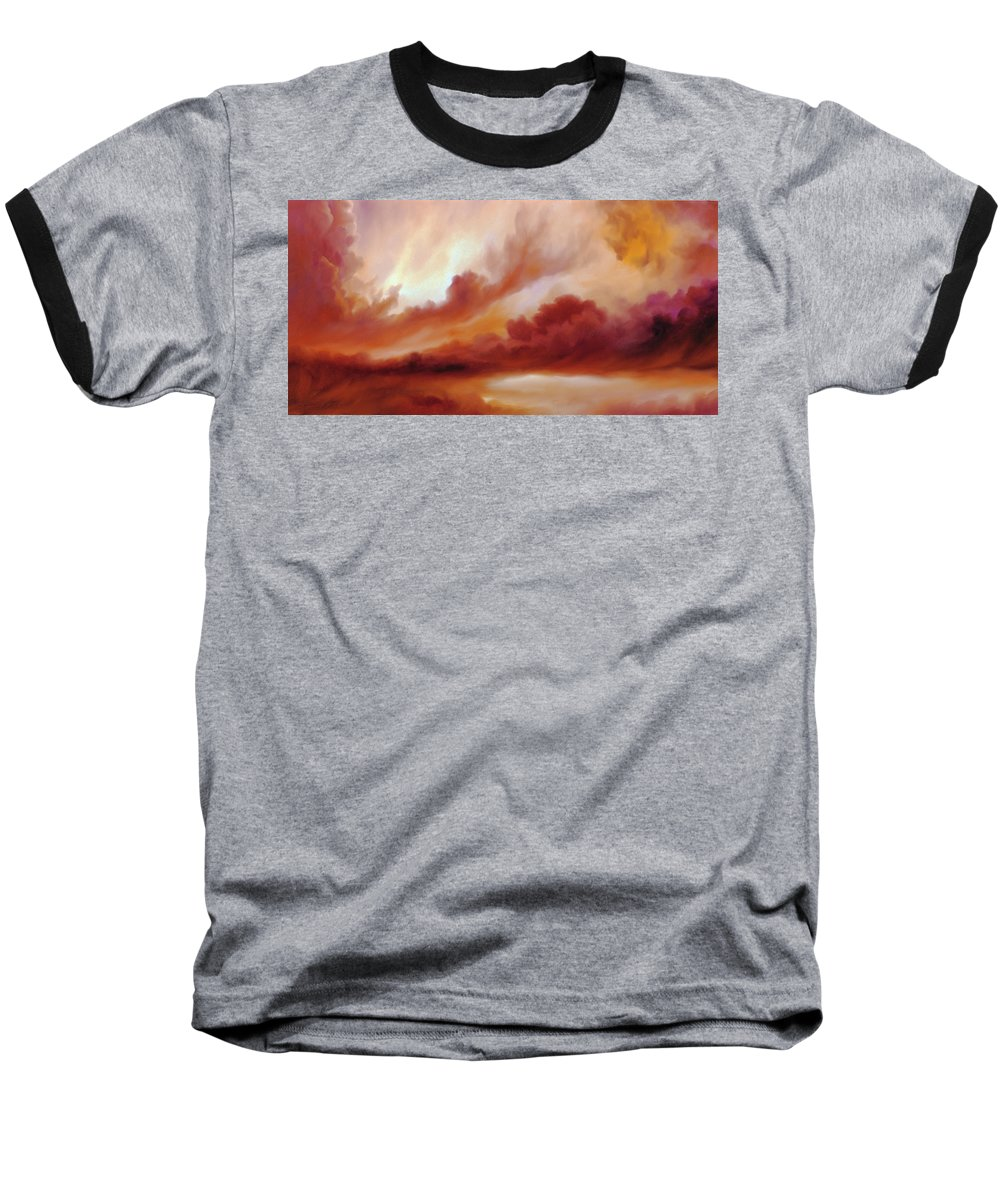 Skyscape Baseball T-Shirt featuring the painting Receding Storm Sketch IIi by James Christopher Hill