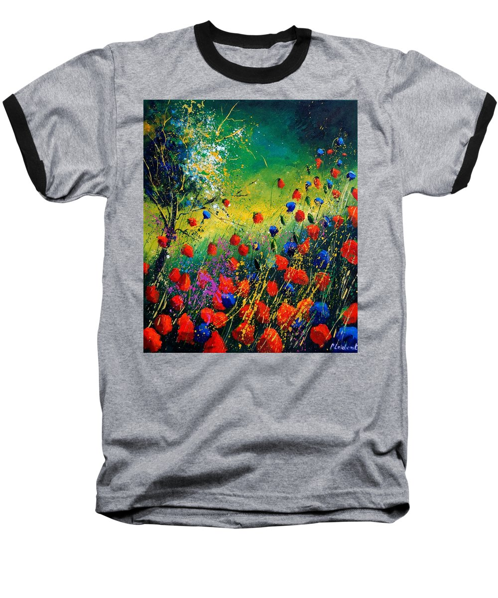 Flowers Baseball T-Shirt featuring the painting Red And Blue Poppies by Pol Ledent