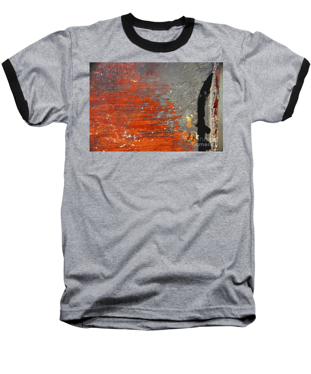 Red Baseball T-Shirt featuring the photograph Red And Grey Abstract by Hana Shalom