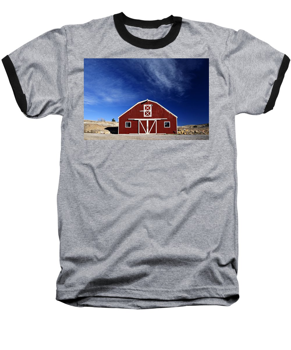 Americana Baseball T-Shirt featuring the photograph Red And White Barn by Marilyn Hunt