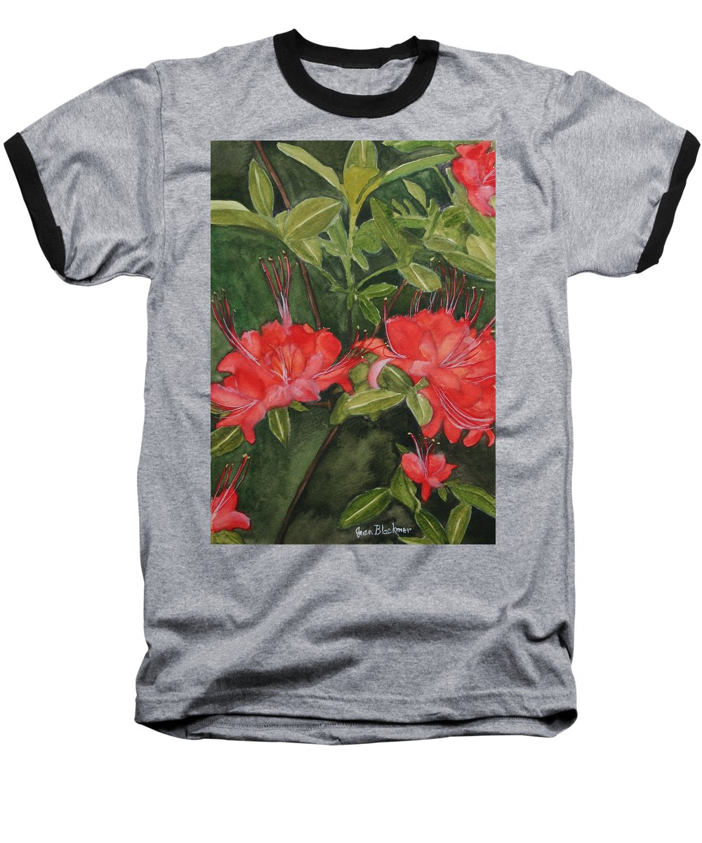 Flowers Baseball T-Shirt featuring the painting Red Blooms On The Parkway by Jean Blackmer