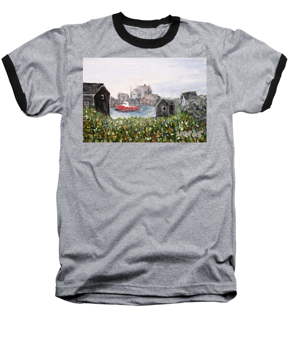 Red Boat Baseball T-Shirt featuring the painting Red Boat In Peggys Cove Nova Scotia by Ian MacDonald