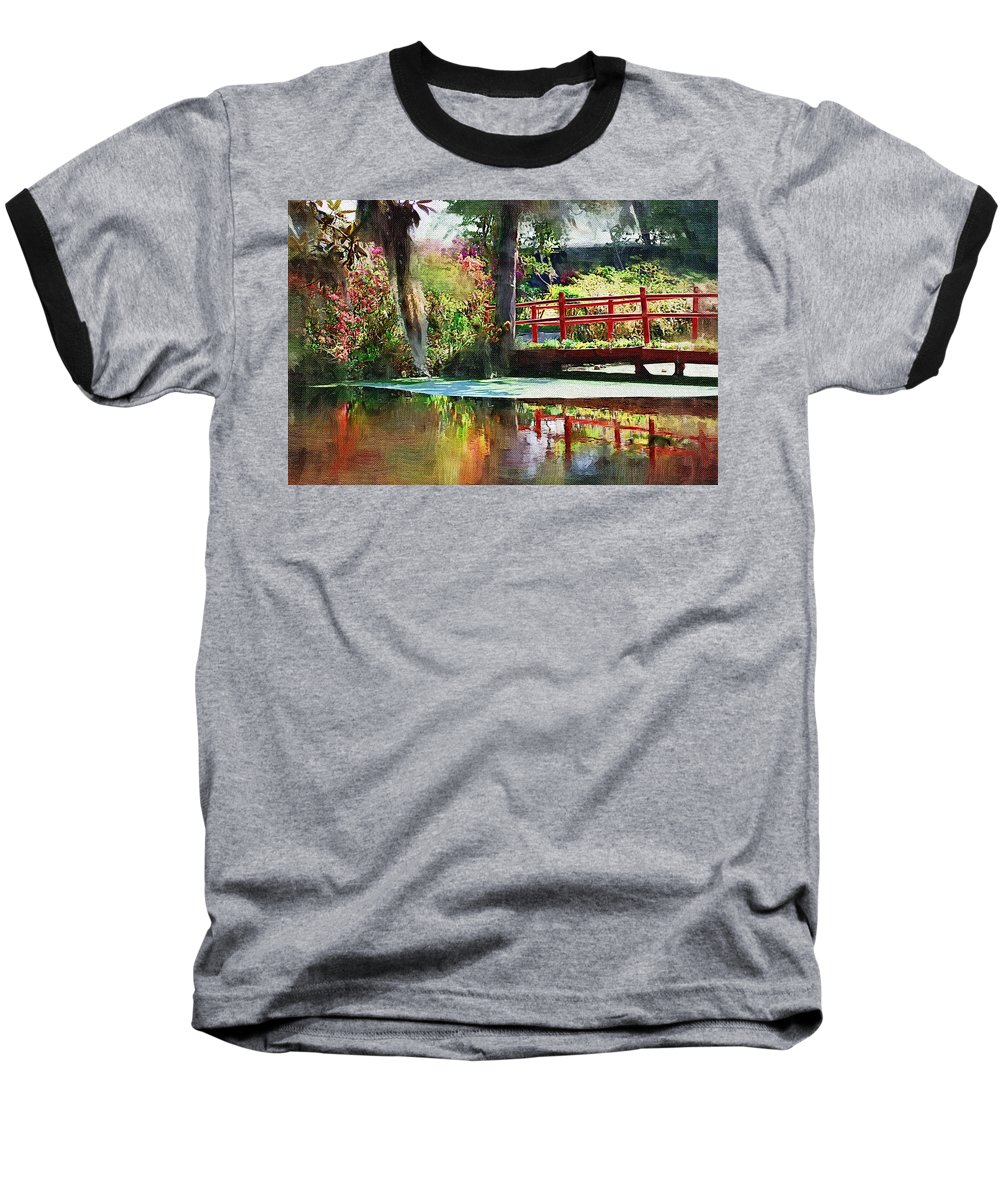 Red Bridge Baseball T-Shirt featuring the photograph Red Bridge by Donna Bentley