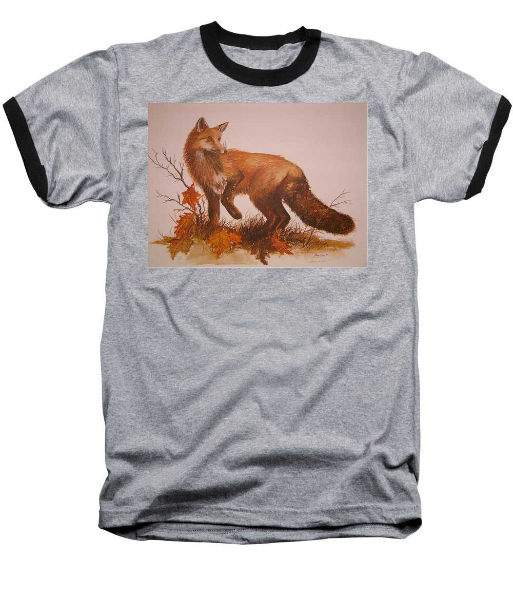 Nature Baseball T-Shirt featuring the painting Red Fox by Ben Kiger