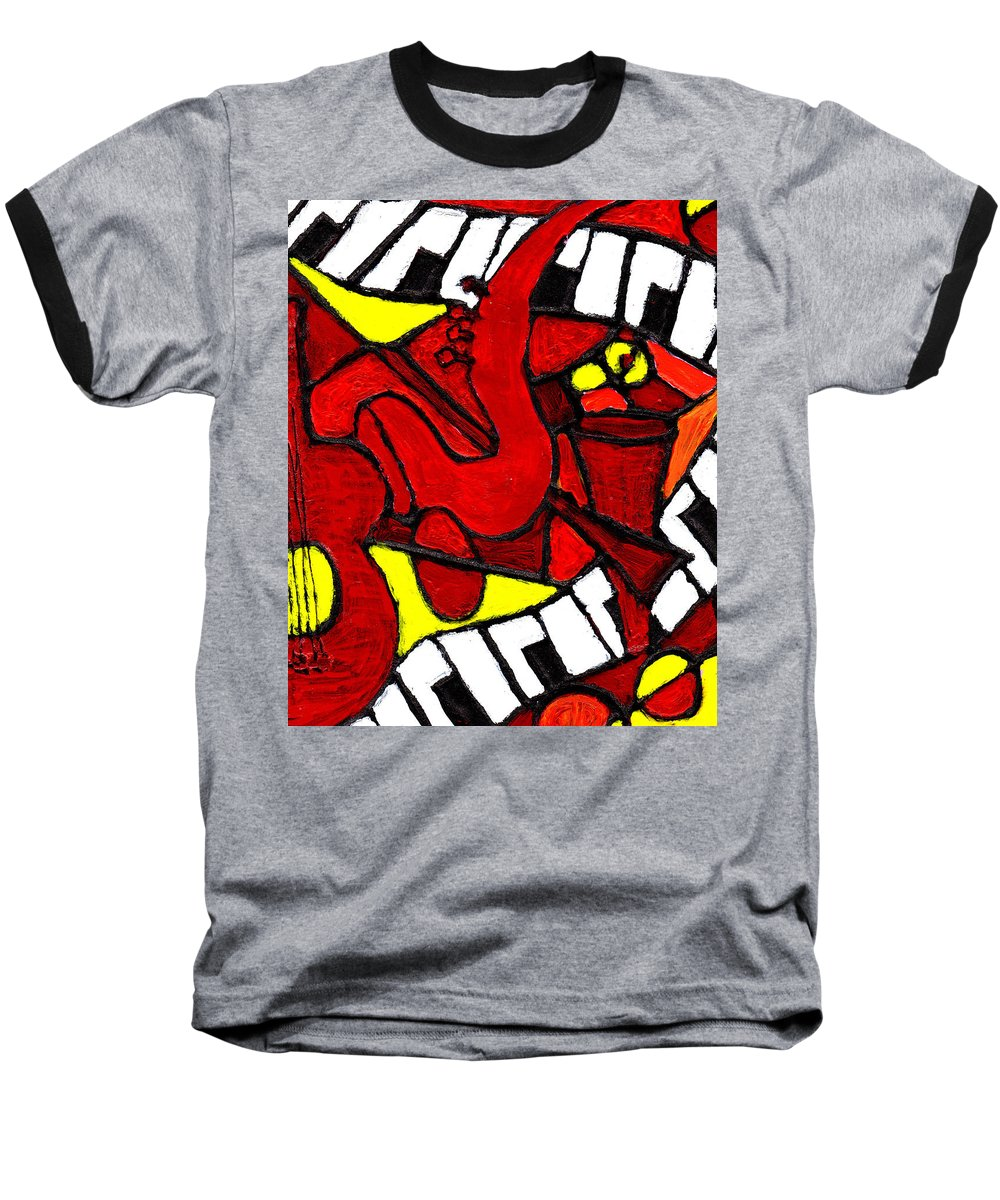 Jazz Baseball T-Shirt featuring the painting Red Hot Jazz by Wayne Potrafka