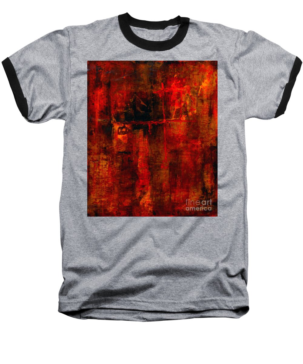 Abstract Painting Baseball T-Shirt featuring the painting Red Odyssey by Pat Saunders-White