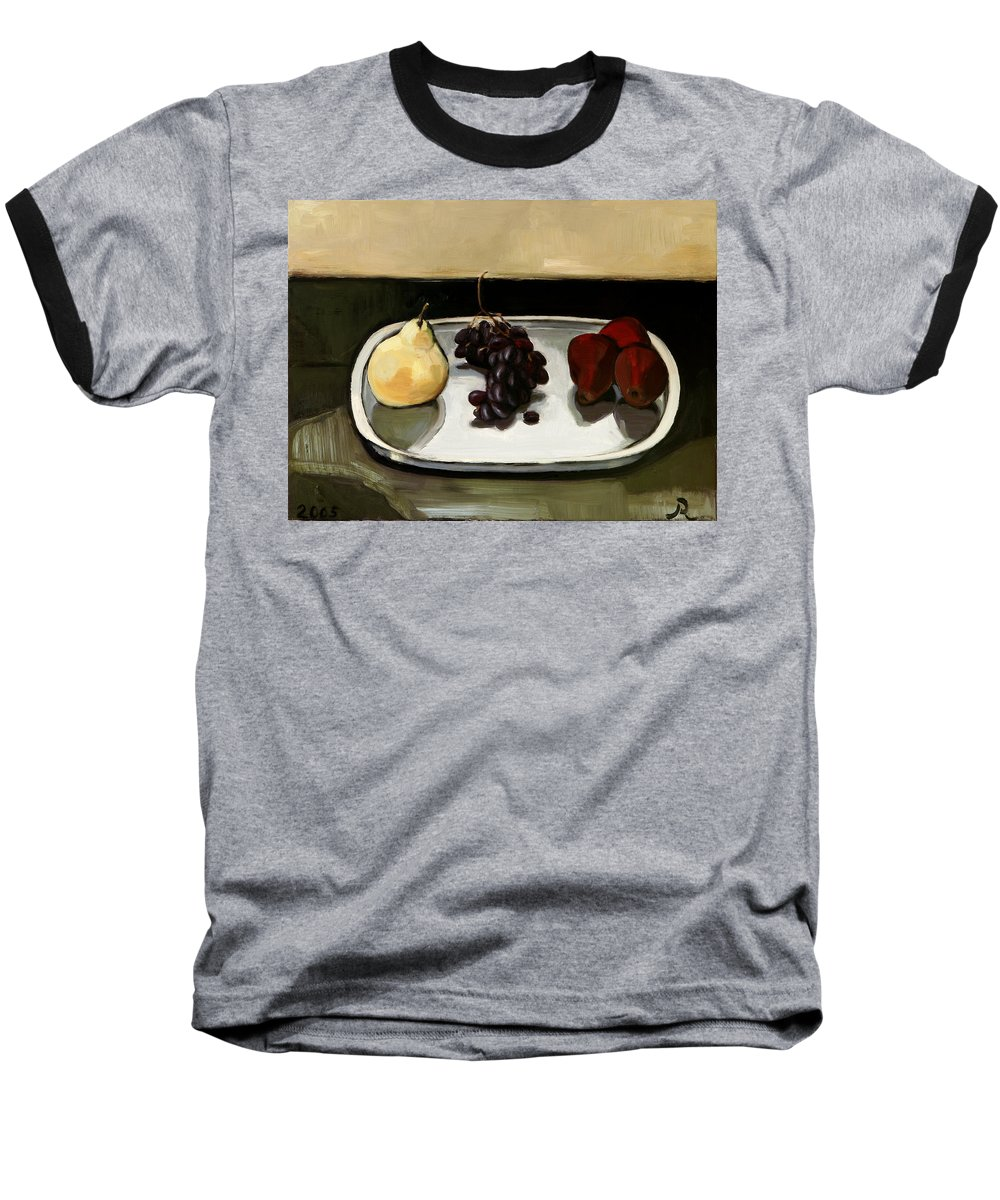 Still-life Grapes Pears Baseball T-Shirt featuring the painting Red Pears by Raimonda Jatkeviciute-Kasparaviciene